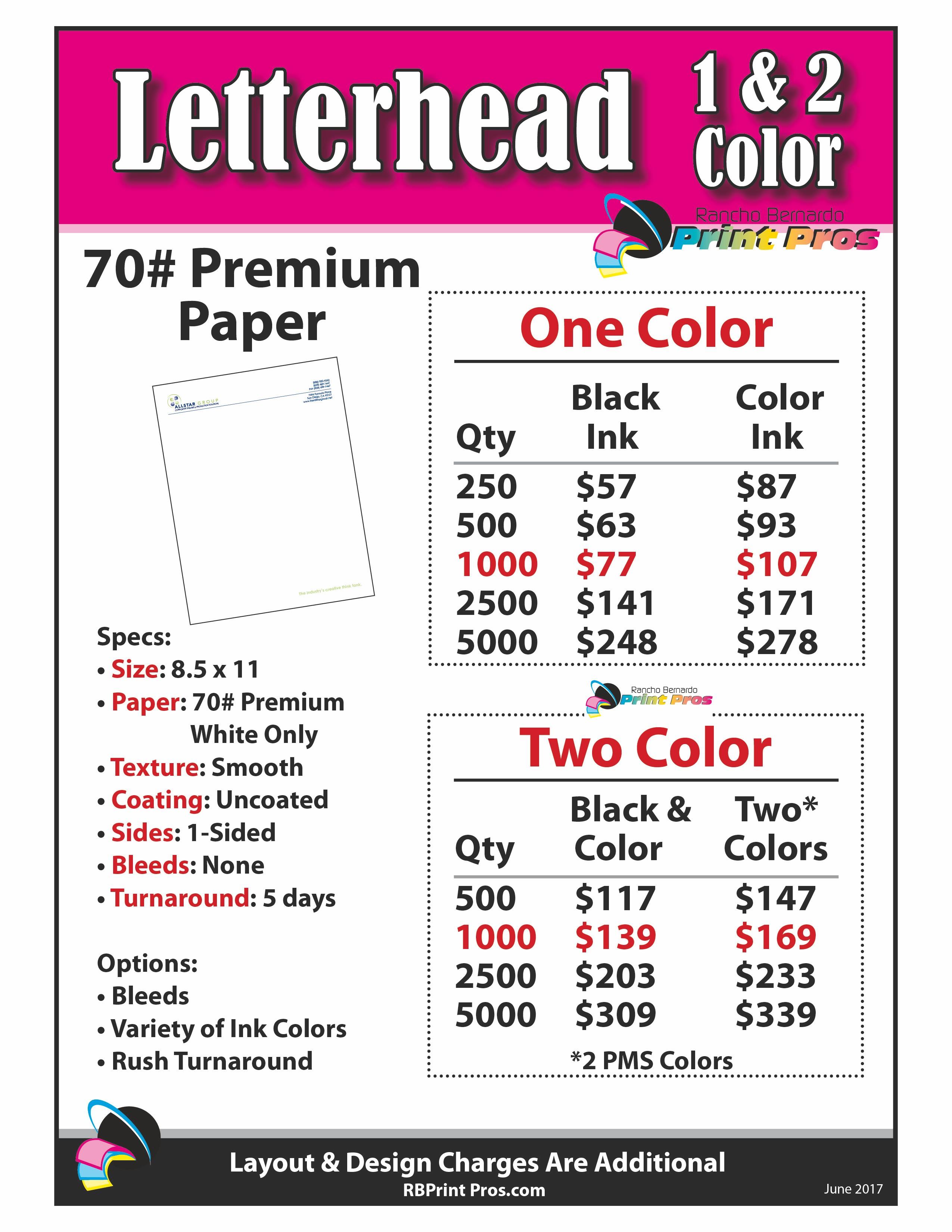 Letterhead: 1&2 Color Basic